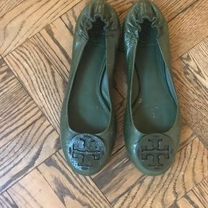 Tory Burch Reva Ballet Flats, Green Leather, 8.5